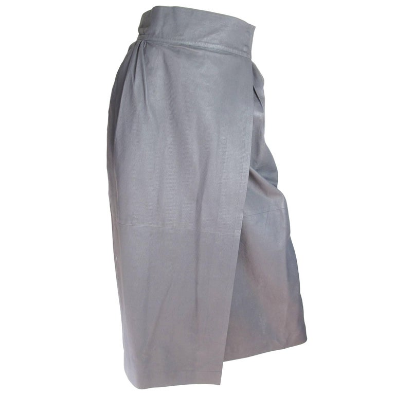 2788ea6a4 Valentino Grey Leather Wrap Skirt For Sale at 1stdibs