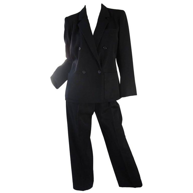Yves Saint Laurent Rive Gauche Black Suit, 1980s
