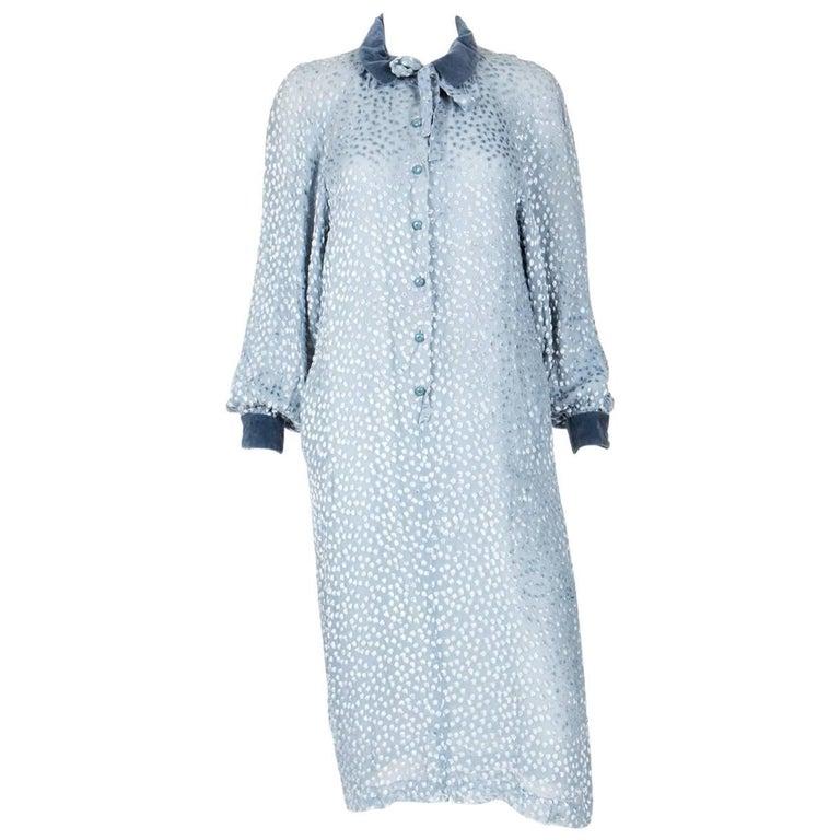 Valentino Blue Plumetis Dress, 1970s