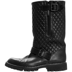 Chanel Black Quilted Leather Biker Boots Sz 38.5