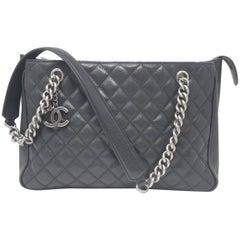 Chanel Rock in Rome Black Caviar Leather Tote Handbag