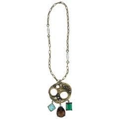 Vintage Gerard Yosca Brutalist Medallion Necklace