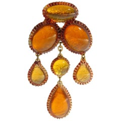 Honey Amber Talosel Dangling Pin Brooch executed by the Workshop of Line Vautrin