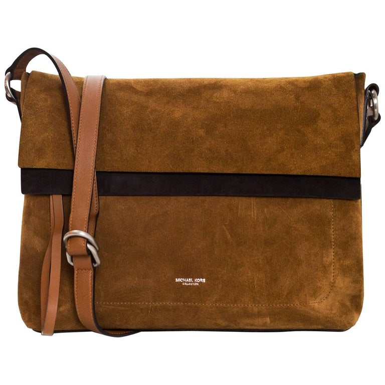 Michael Kors Collection Brown Suede Sedona Messenger Bag