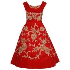 1950's Ruby Red Beaded Metallic Applique Taffeta Shelf-Bust Full Party Dress