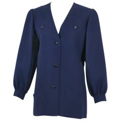 Andre Laug Navy Melton Wool Jacket Top, 1970s