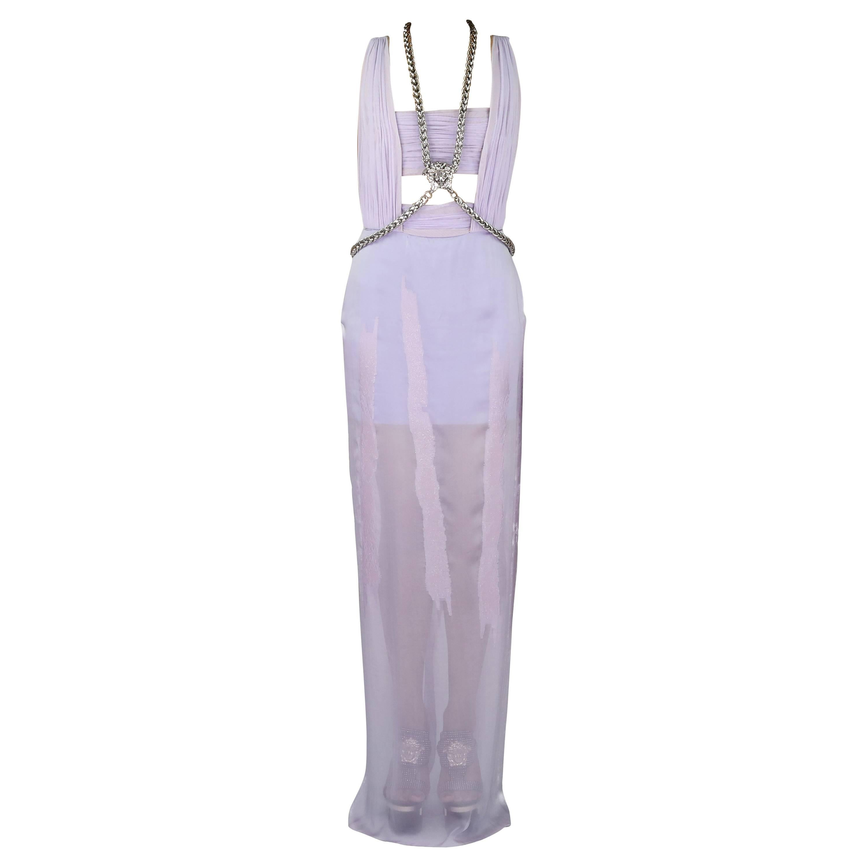 New VERSACE Lilac Chiffon Long Dress with Medusa Chains