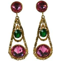 French Crystal Girandole Long Earrings