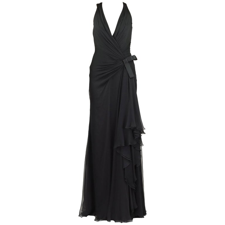 Versace Deep V Vanitas Detail Black Chiffon Silk Gown