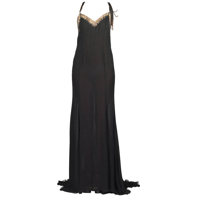 New VERSACE BLACK CHIFFON SILK DRESS GOWN with LACE and CHAINS