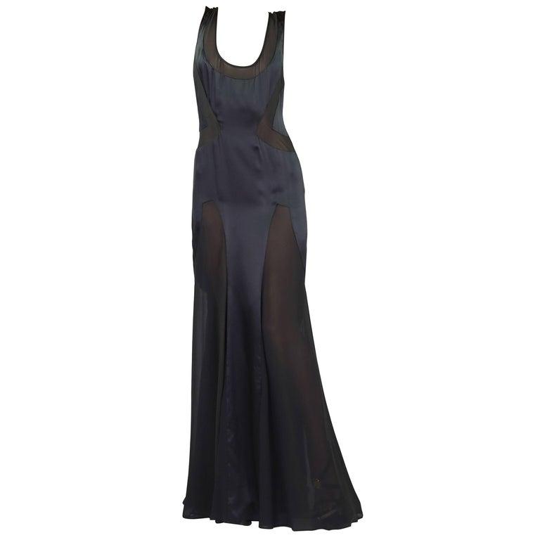 VINTAGE VERSACE LONG BLACK SILK DRESS Size 40