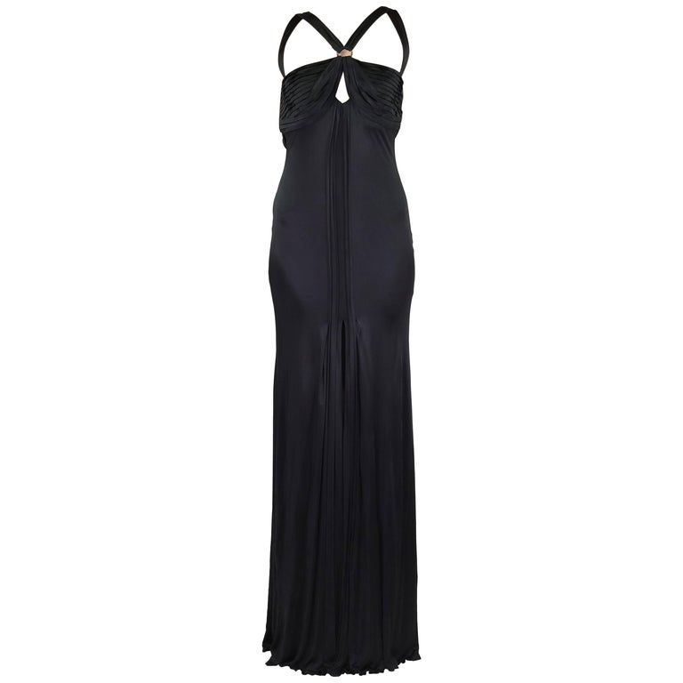 New VERSACE BLACK STRETCH-JERSEY OPEN BACK GOWN Size 44