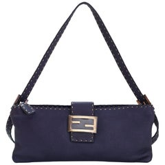 Fendi Navy Leather Selleria Pochette Bag