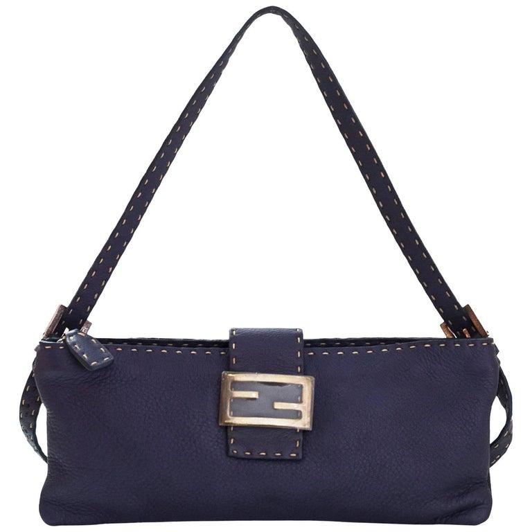 Fendi Navy Leather Selleria Pochette Bag For Sale