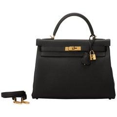 Brand New in Box Hermes Kelly 32 cm Togo Black Gold Bag