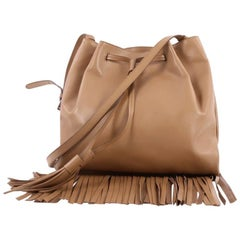 Prada Drawstring Fringe Tote Bag Soft Calfskin Medium