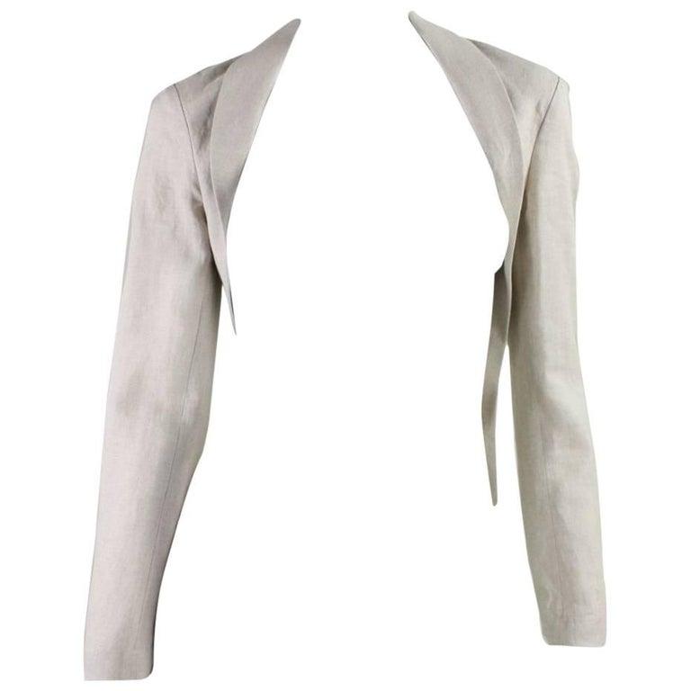 Yohji Yamamoto Cutaway Linen Jacket For Sale