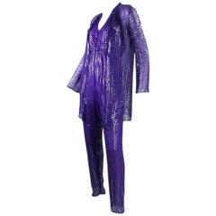 1970's Halston Sequined Purple Silk Chiffon Jumpsuit & Jacket