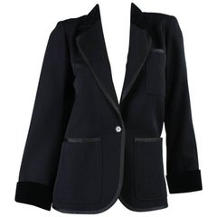 1970's Yves Saint Laurent Black Wool Tuxedo Jacket