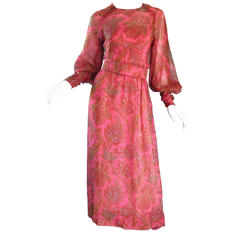 Adele Simpson 1970s Pink Silk Chiffon Paisley Bishop Sleeve Vintage Maxi Dress