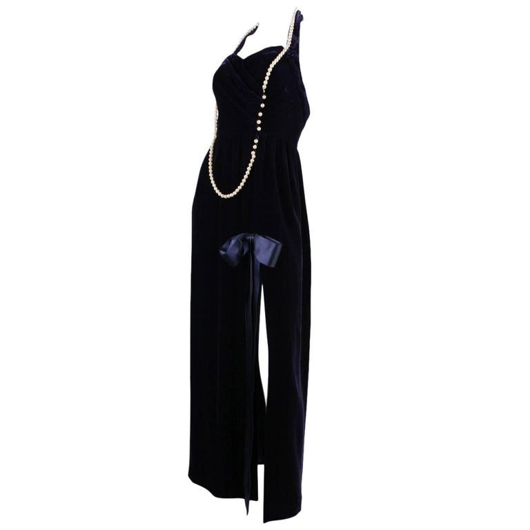 1990's Chanel Velvet Gown with Pearl Detailing For Sale