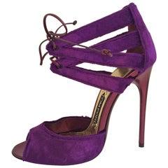 Tom Ford Violet Velvet Evening Sandals With Metallic Magenta Leather Heel Sz38.5
