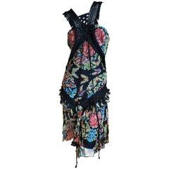 John Galliano AW 2003 Floral Dress w Macrame Fringe Corset Lace Trim Book Piece