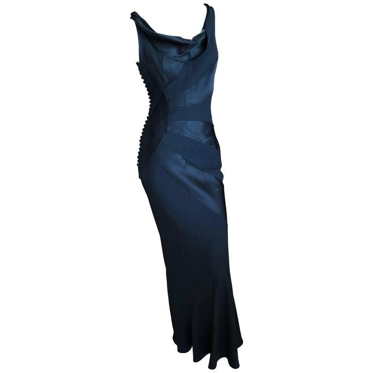 John Galliano Spring 2000 Black Sun Ray Pattern Evening Dress