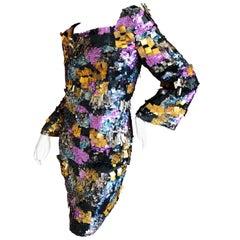 Emilio Pucci Heavily Embellished Technicolor Sequin Paillette Cocktail Dress