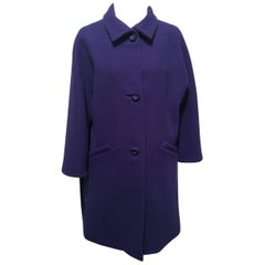 Balenciaga Purple Wool Coat Sz34 (Us 2)