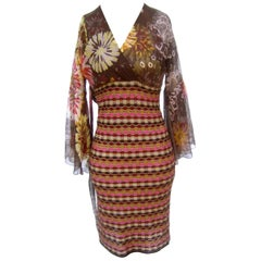 Missoni Italy Sheer Silk Floral Bodice Knit Dress US Size 6
