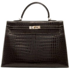 Hermes Dark Brown Crocodile Kelly Silver Stitching 35cm