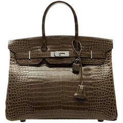 Hermes Gris Elephant Brown Crocodile Birkin 35cm EXCELLENT CONDITION