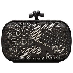 Bottega Veneta Black and White Lace Detail Knot Clutch Bag