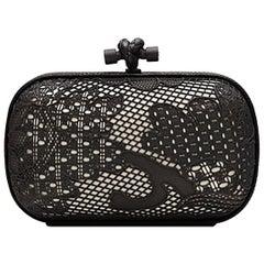 Bottega Veneta Black and White Lace Detail Knot Clutch Bag
