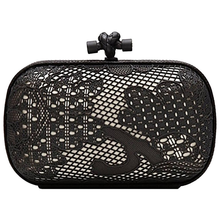 Bottega Veneta Black and White Lace Detail Knot Clutch Bag For Sale