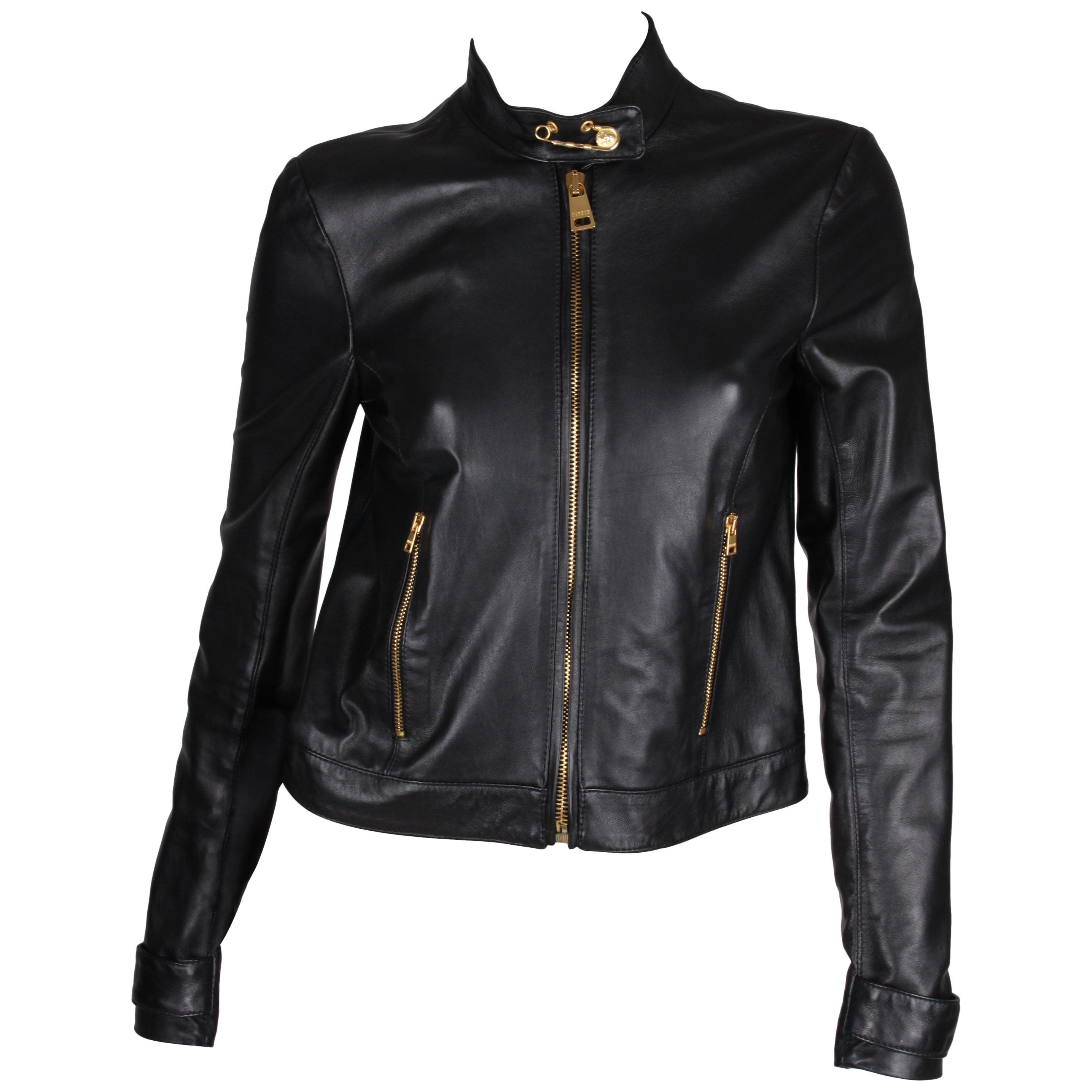 07ba689078ba Versus Versace Leather Jacket - black at 1stdibs