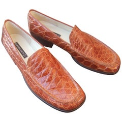 Italian Embossed Brown Leather Women's New Loafers by Claudia Ciuti Size 6.5 M