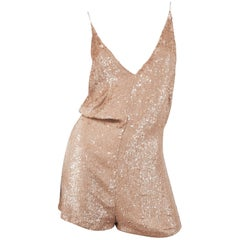 Valentino Sequin Silk Playsuit in Blush, Size 40
