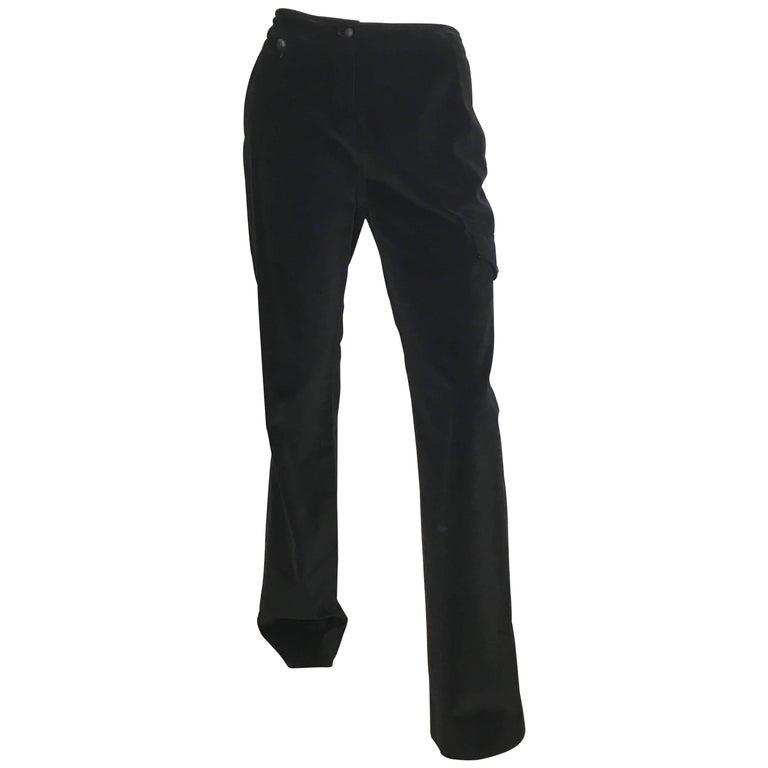 Yves Saint Laurent Rive Gauche Black Velvet Cargo Pants with Pockets Size 6.