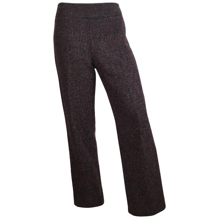Oscar de la Renta Nubby Flannel Wool Pants Size 6. Made in Italy.