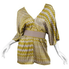 Missoni Olive Green and Grey one size Zigzag Knit Tunic