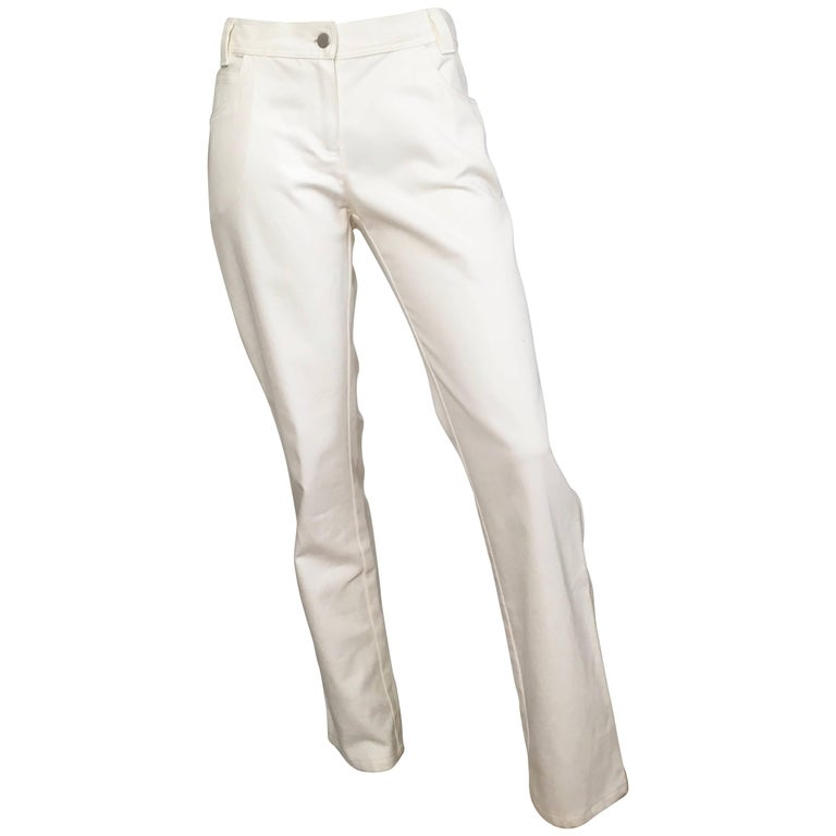 Valentino White Cotton Twill Pants Size 8.