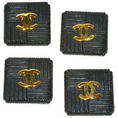 Fabulous Set of (4) Chanel Square Textured Resin and Logo Buttons