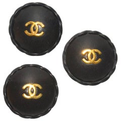 Chanel Set of 3 XL Leather Buttons