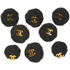 Chanel Set of 8 Interwoven Silk Rope and Logo Buttons