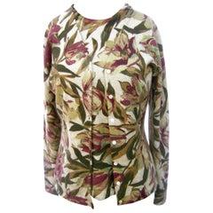 Neiman Marcus Cashmere Foliage Cardigan Twin Set Size L