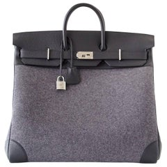 Hermes Birkin Rare 50 Bag Hac Gris Moyen Grey Todoo Feutre Black Togo Palladium