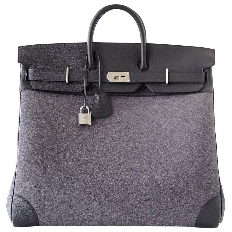 f6bd4a62b57 Hermes Birkin Rare 50 Bag Hac Gris Moyen Grey Todoo Feutre Black Togo  Palladium For Sale