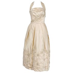 1950's Ceil Chapman Ivory Beaded Floral Applique Silk Satin Halter Party Dress